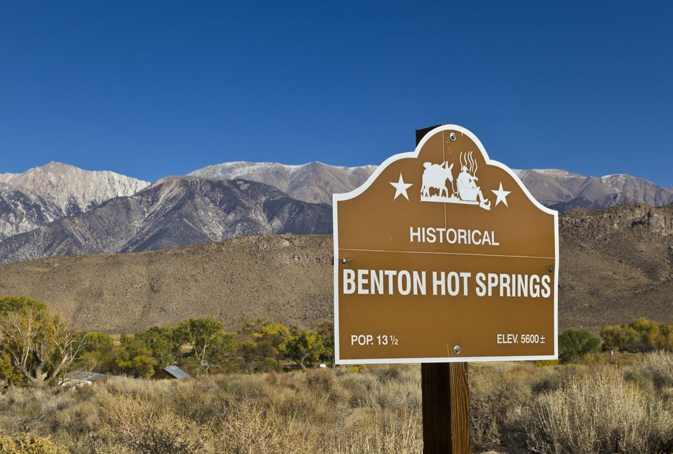 Roadside billboard for Benton Hot Springs