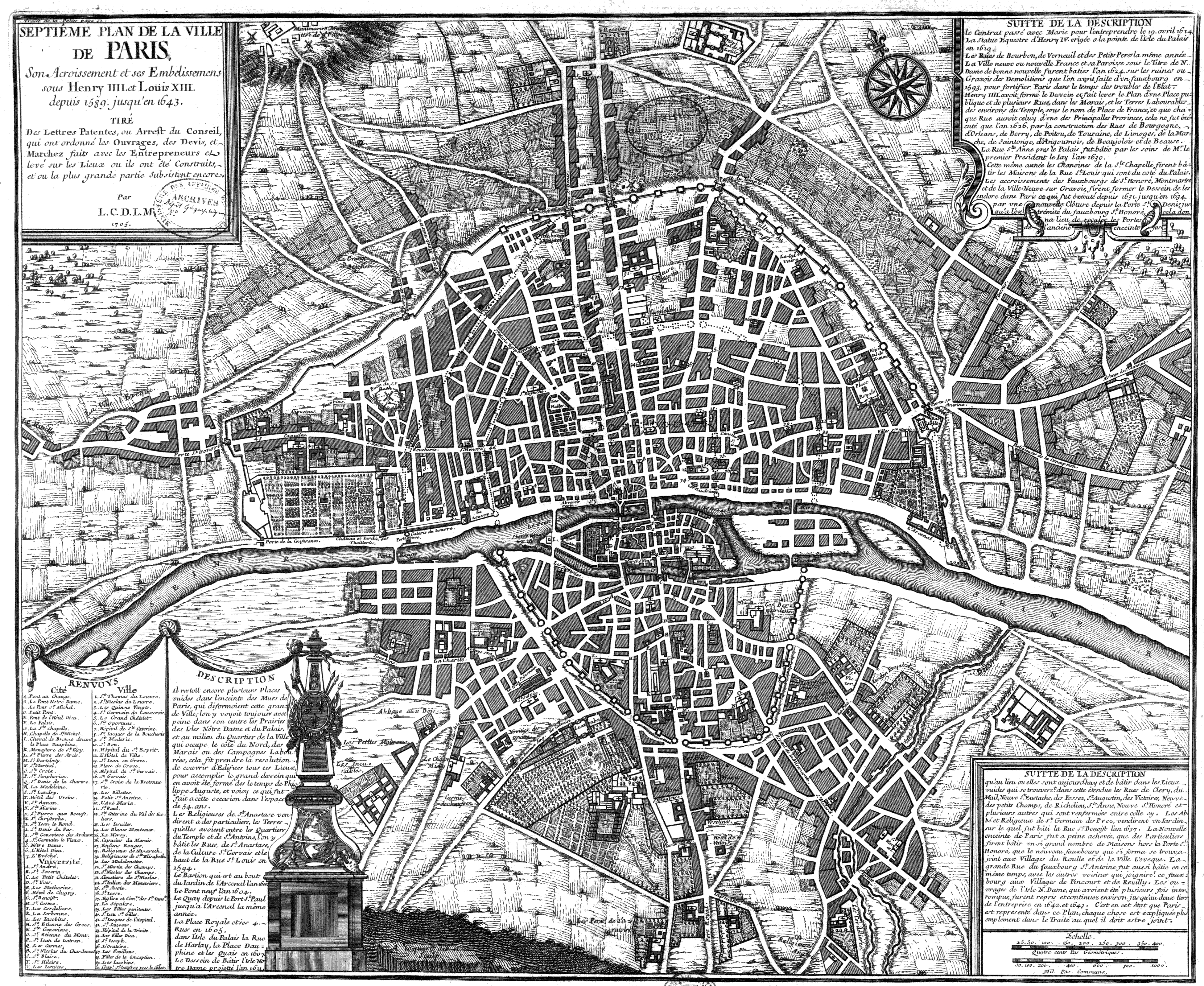 Map of an expanding Paris, 16th-17th centuries (Click map to view in larger size)