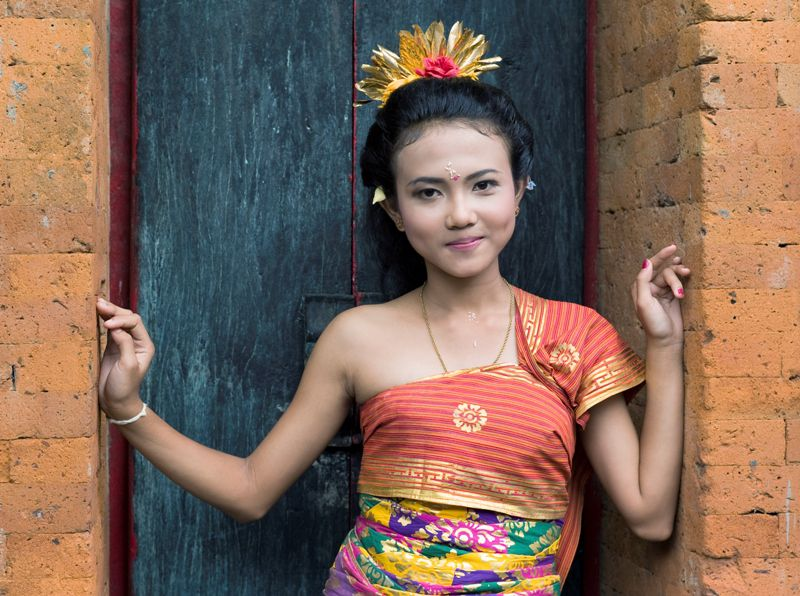 Balinese girl in formal dress, Ubud, Bali