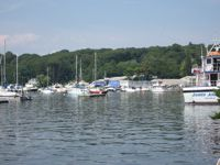 Colorful boats in Northport Harbor.