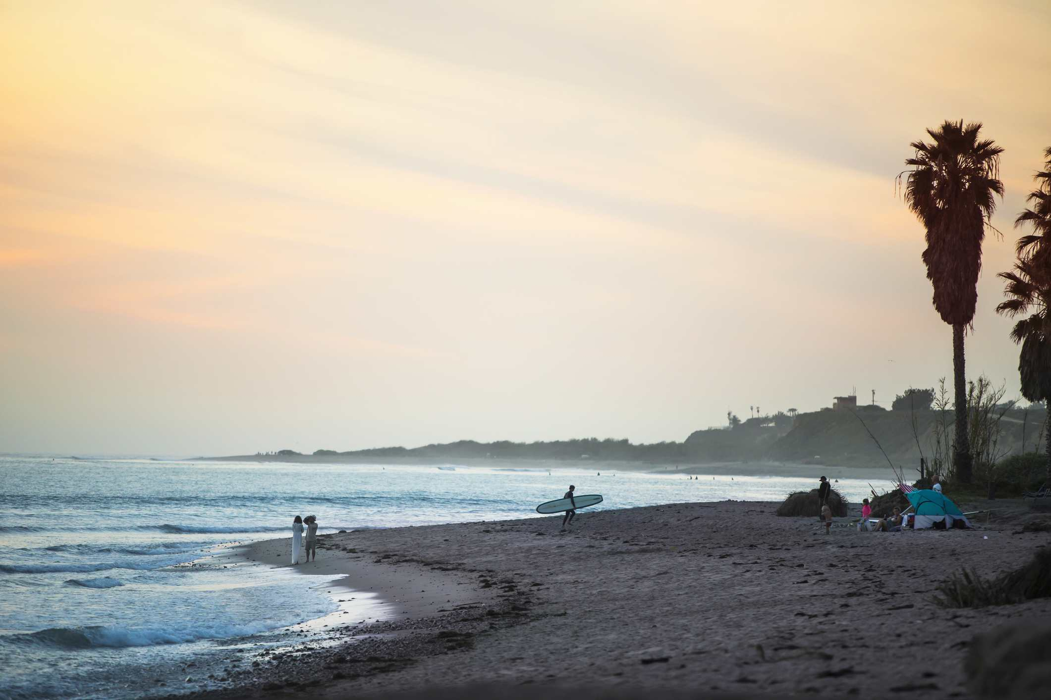 A sunset surf session at San Onofre State Beach in San Clemente, California.