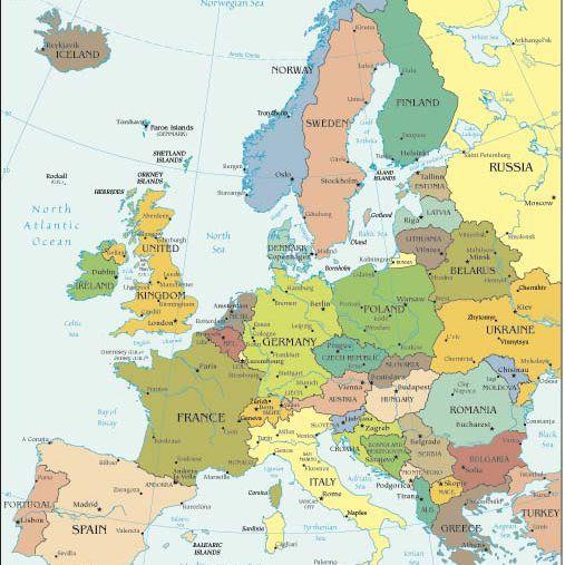 Kort Over Nordeuropaeiske Lande Besogt Af Krydstogtskibe