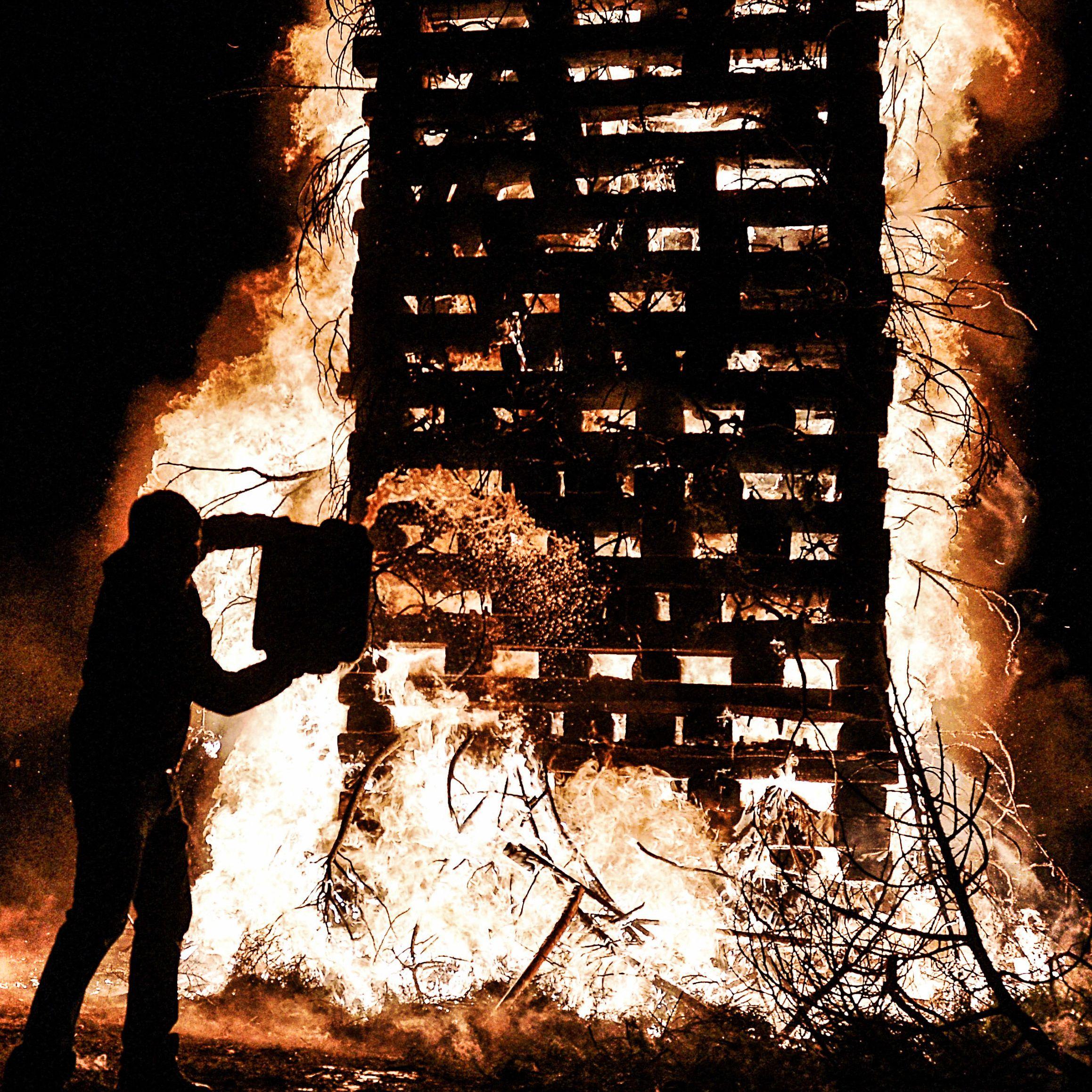 Christmas bonfires in Florina, Greece