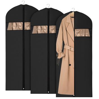 ca564289a4f5 tan trenchcoat in garment bag with two others behind it on white background