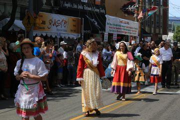 Italian Heratege Ethnic street procession, Little Italy feast of the Assumption, Cleveland, Ohio, USA