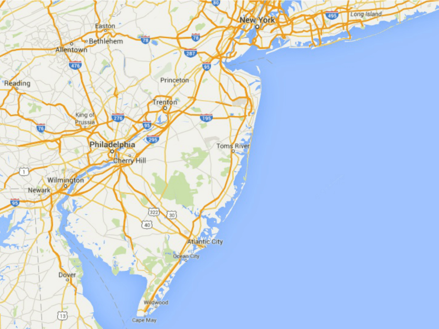 New Jersey Shore Map Maps of the New Jersey Shore