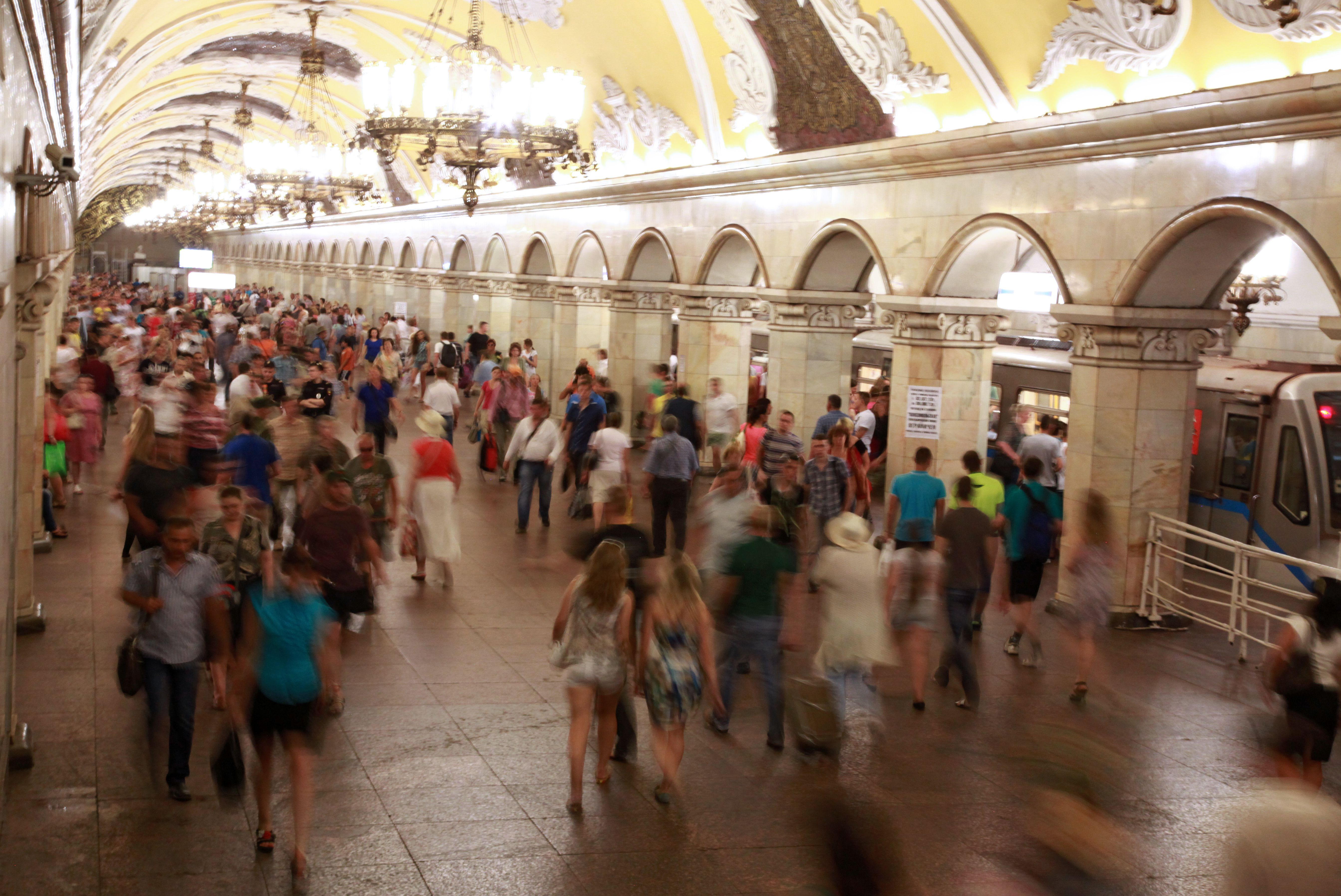 Rush hour in the metro station in Moscow Russia
