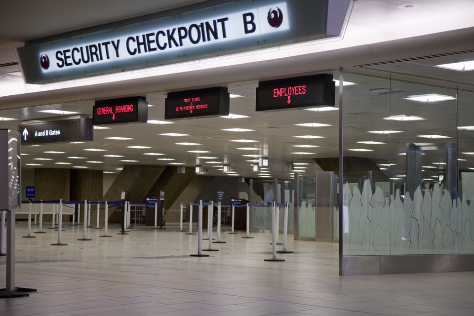 Security checkpoint at airport