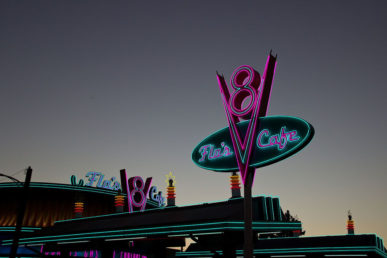 Right after the neon was turned on at sunset in Cars Land at Disney California Adventure.