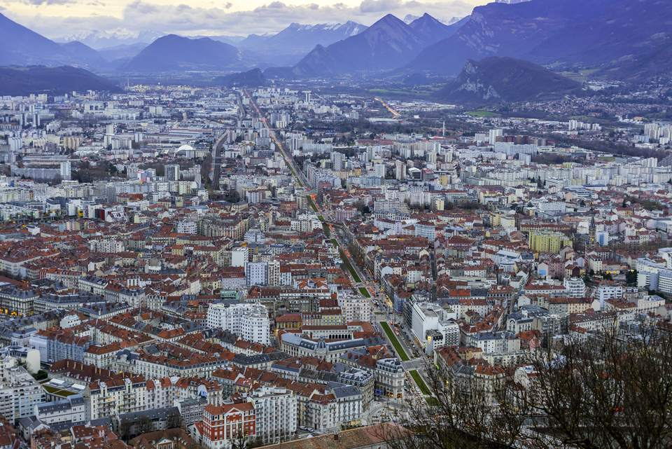 Grenoble - France : View from Bastille Fortress Mountain Top