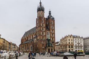 Krakow Main Market Square with St. Mary's Basilica