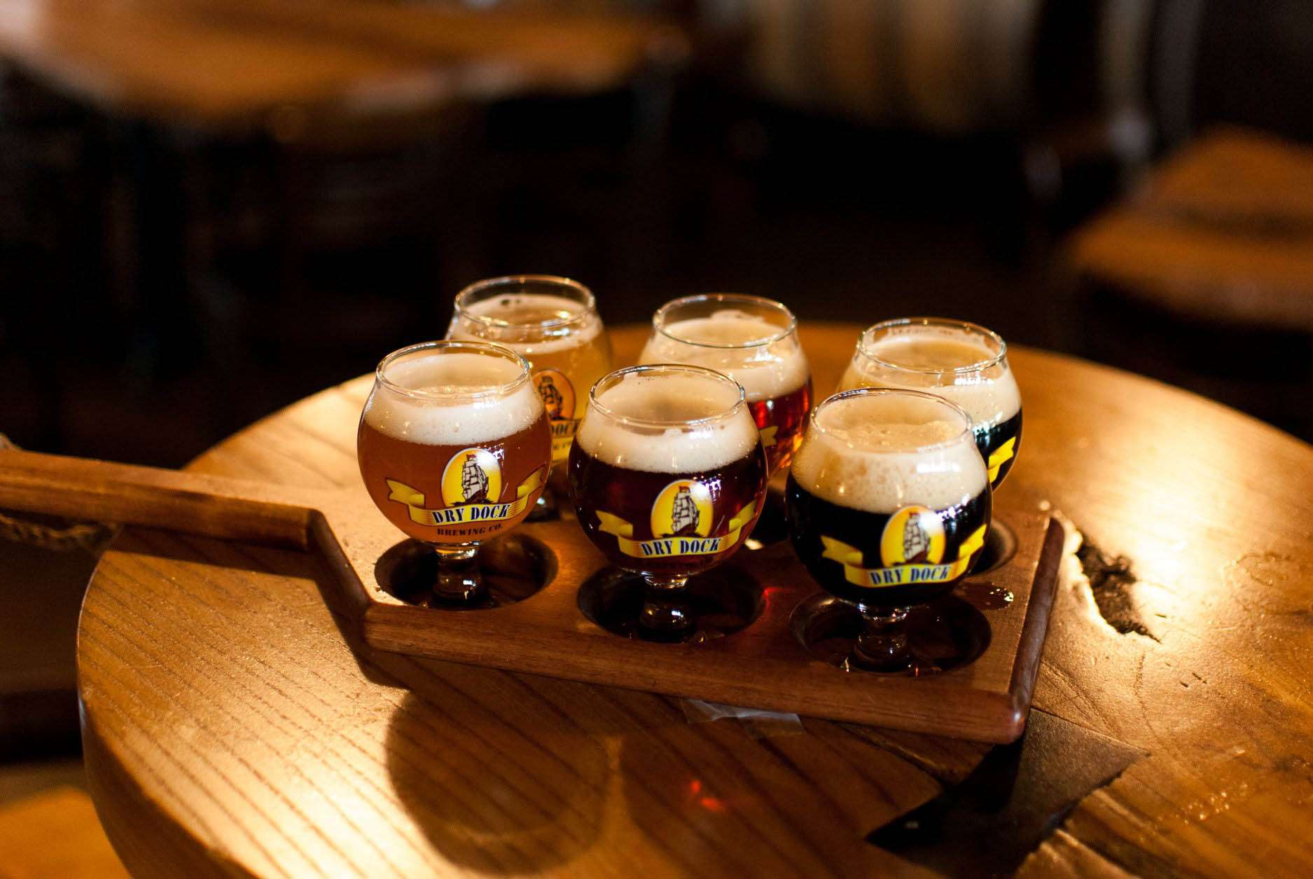 A flight of beers from Dry Dock Brewing
