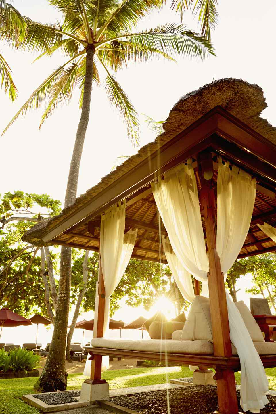 An outdoors Bali-style bed.