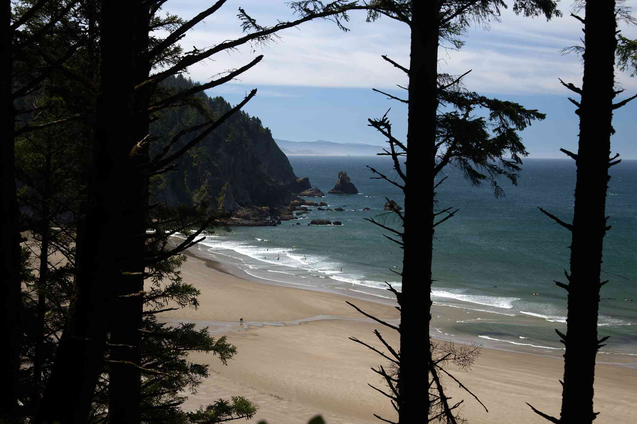 Short Sand Beach in Oswald West Oregon State Park as soon through the trees from above on a hillside