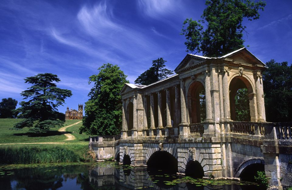 Palladian Bridge and Gothic Temple at Stowe Landscape Gardens