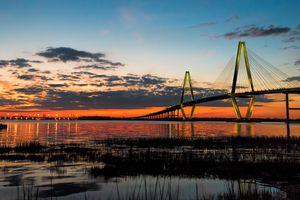 Arthur Ravenel Bridge at twilight hour