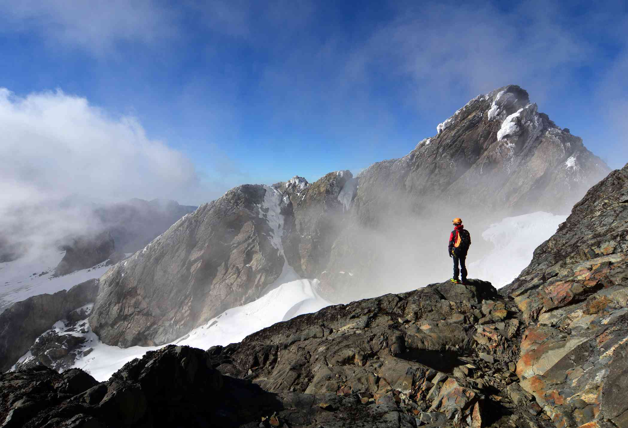 Approaching the peak of Mount Margherita, Rwenzori Mountains