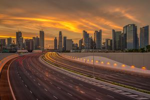 Highway to Singapore at sunset