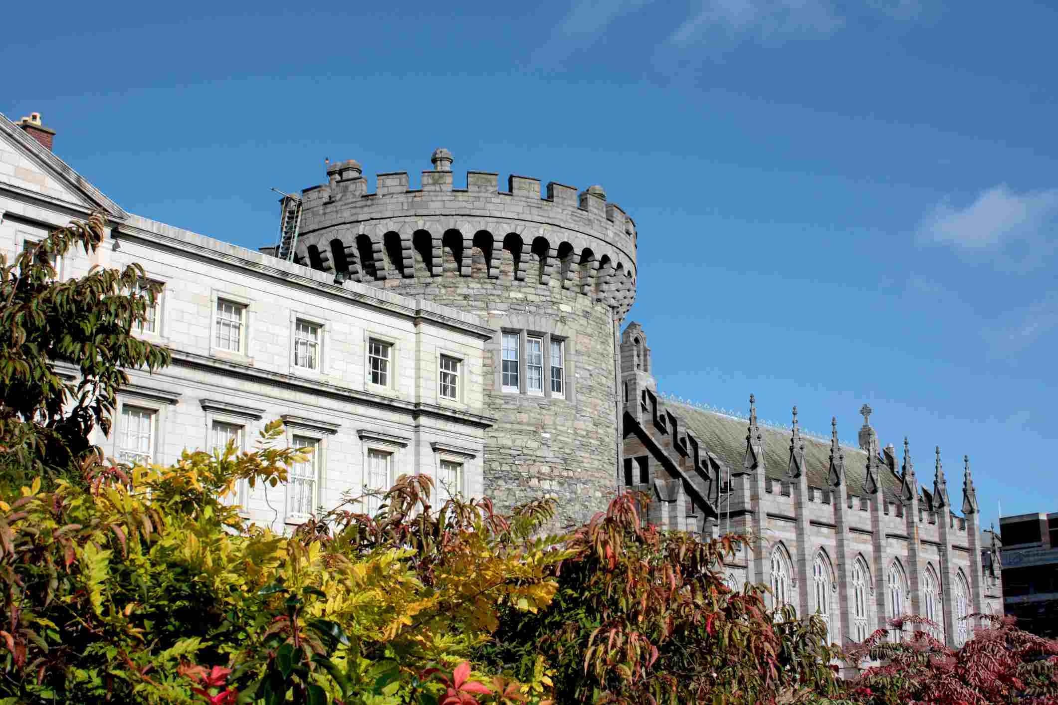 Historic Dublin Castle. Medieval tower in the middle of the picture