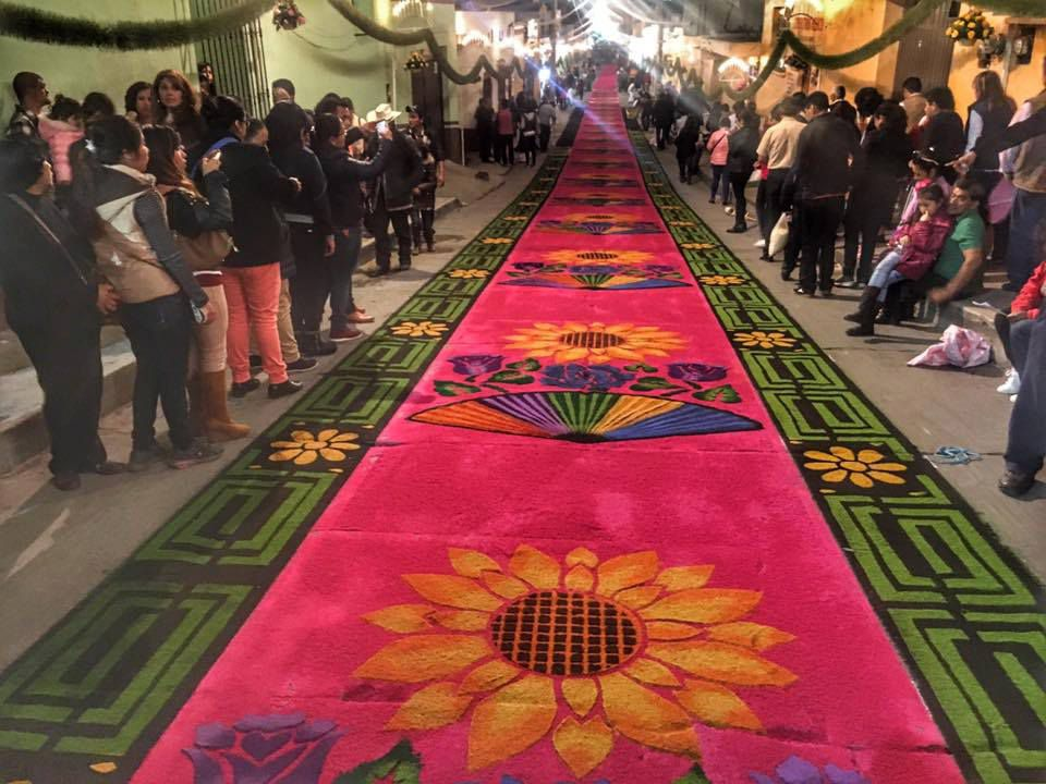 A tapestry made of colored sawdust for Huamantla's fair