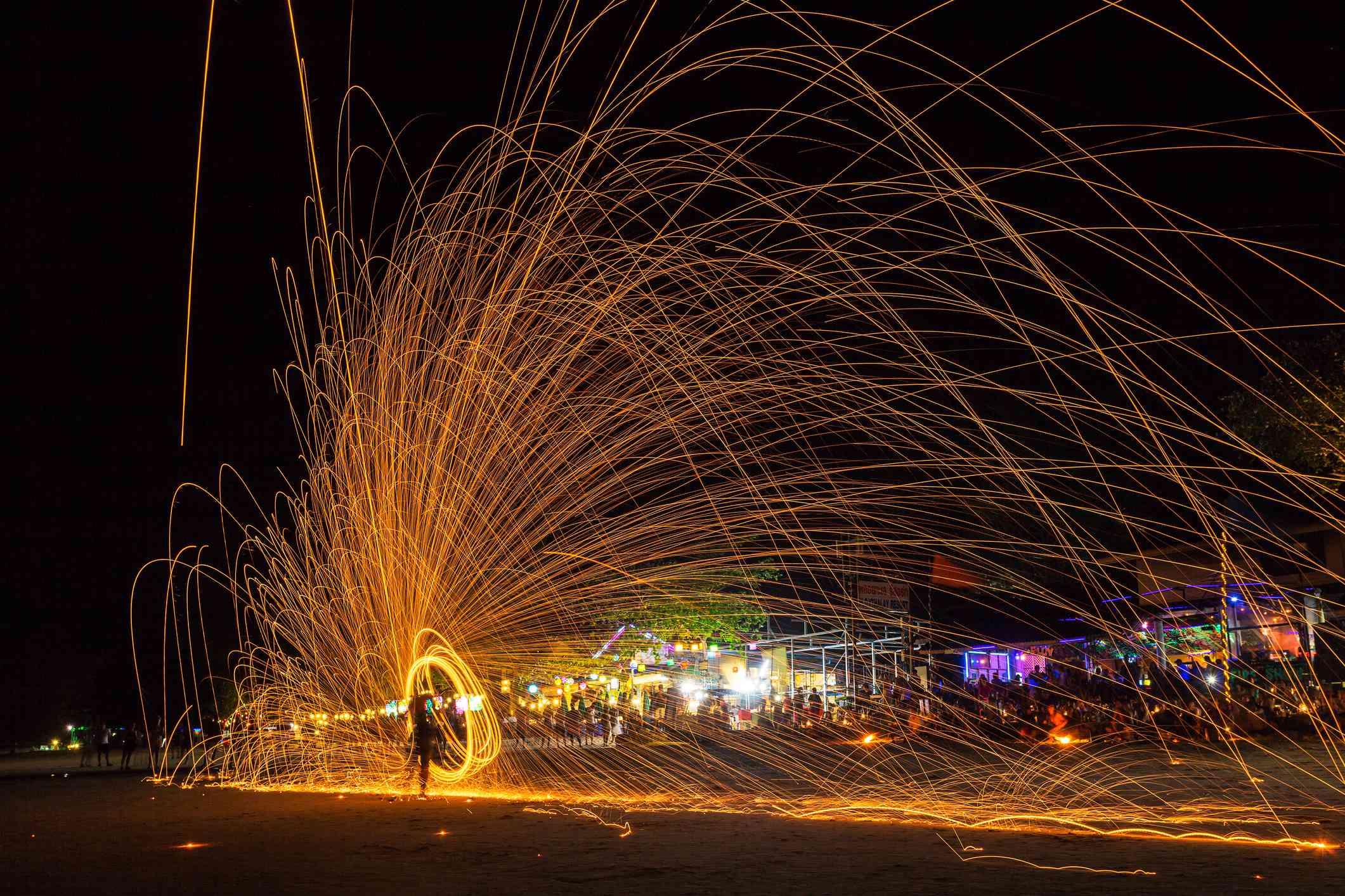Fireworks on Phuket beach, Thailand
