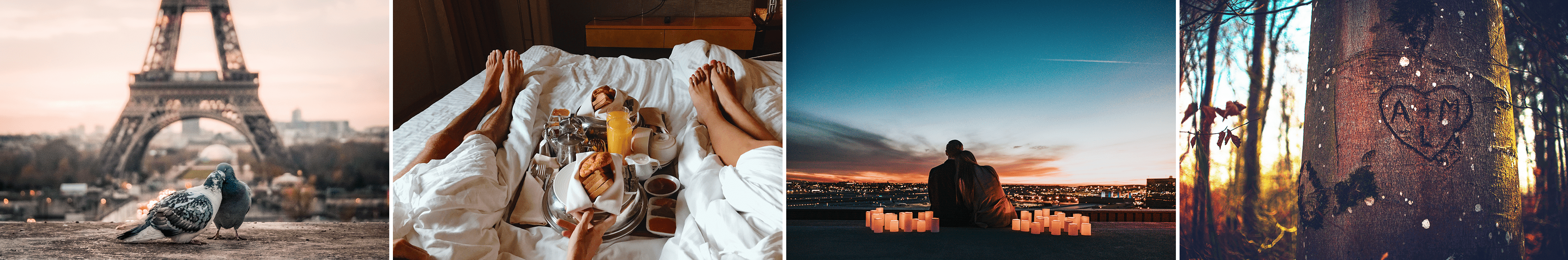 a collage of romantic images including the Eiffel Tower, breakfast in bed, a sunset, and a heart carved in a tree