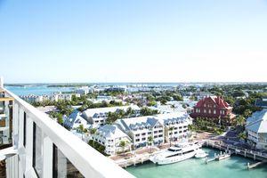 High angle view. Key West Florida. Cruise ship balcony. Docks.