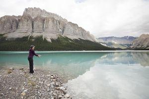 woman fishing in canada