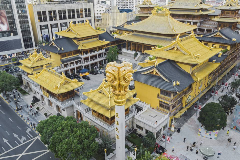 Aerial View Of Shanghai Jingan Temple At Dusk