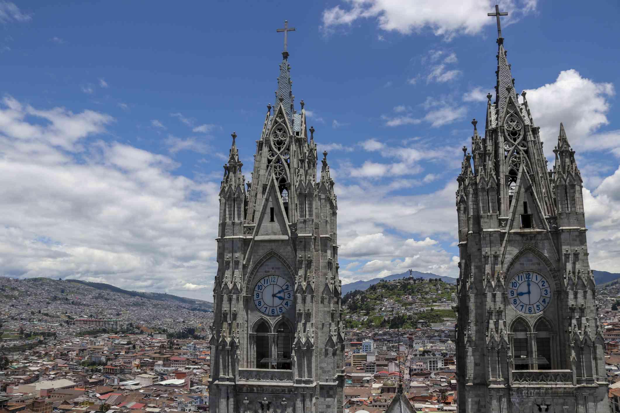 Basilica del Voto Nacional and the cityscape of Quito