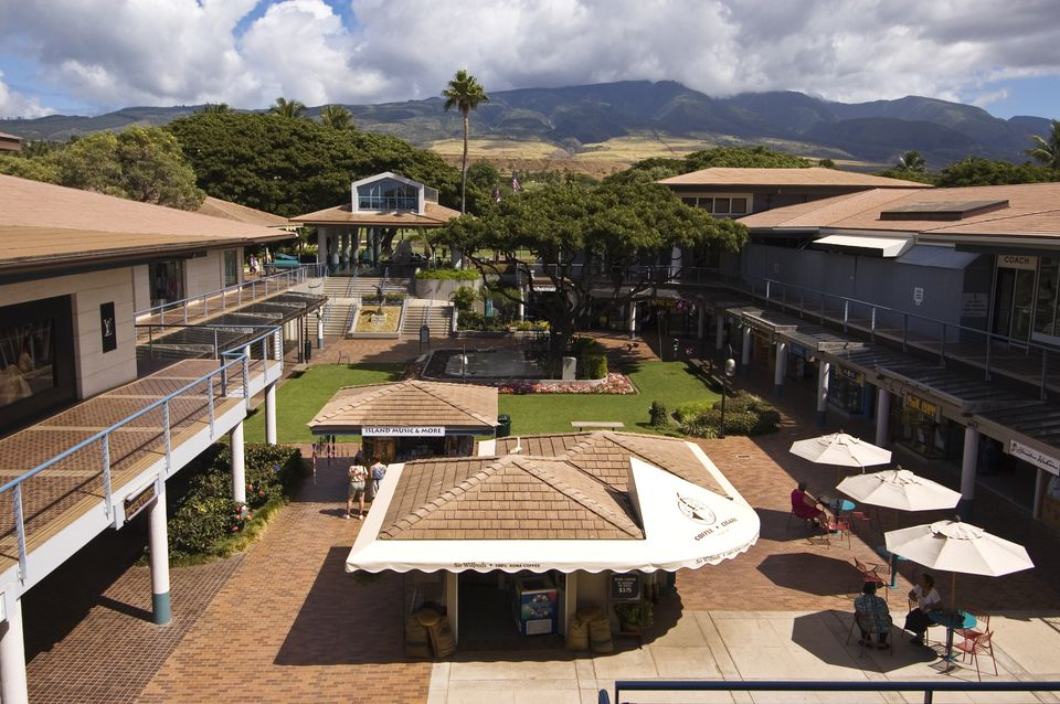 Elevated view of Whalers Village, Ka'anapali Beach Resort, Maui