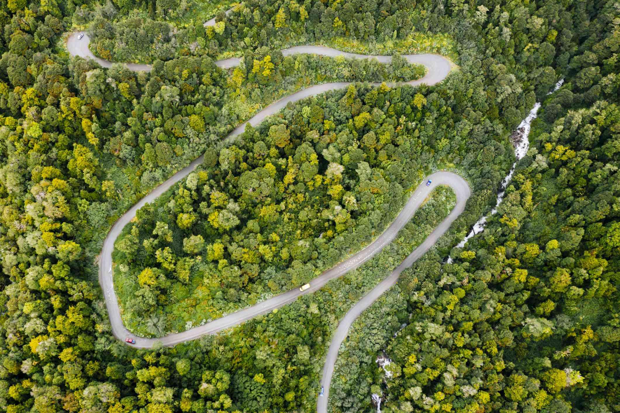 Twisted road of the Carretera Austral in Parque Nacional Queulat