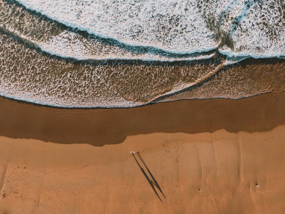 Aerial view of a couple alone on a beach