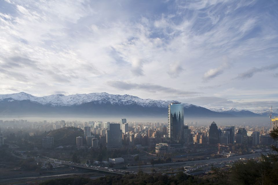 View of Santiago with Andes in background