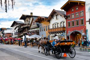 A horse drawn carriage in Leavenworth