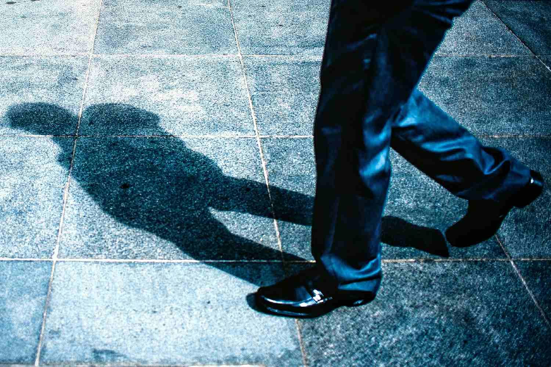 A man wearing casual dress shoes