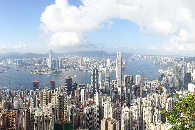 Aerial view of Victoria Peak in Hong Kong