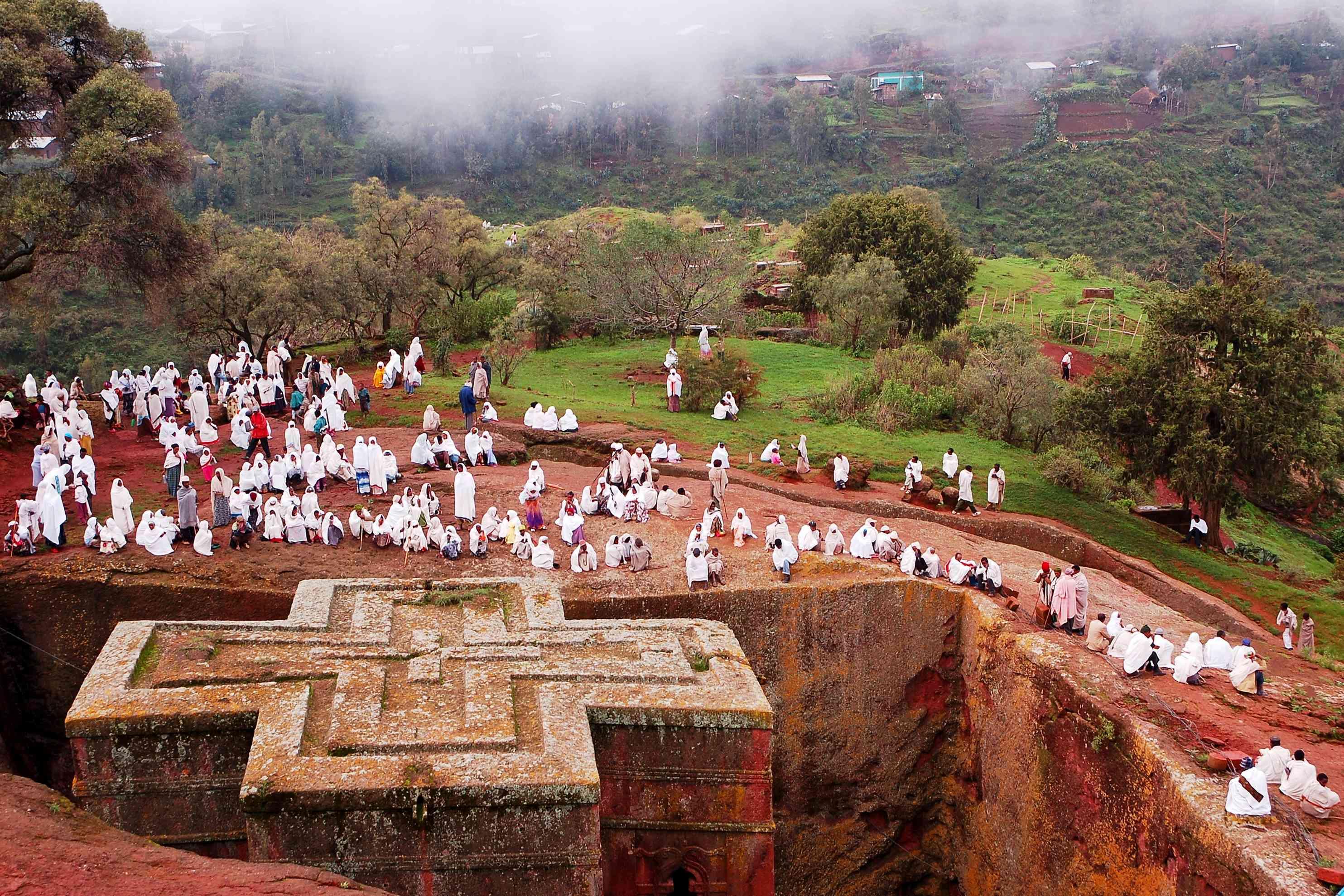 Mists Gather Over Rock-Cut Churches of Lalibela, Ethiopia