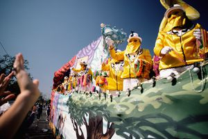 Float in Mardi Gras parade in New Orleans