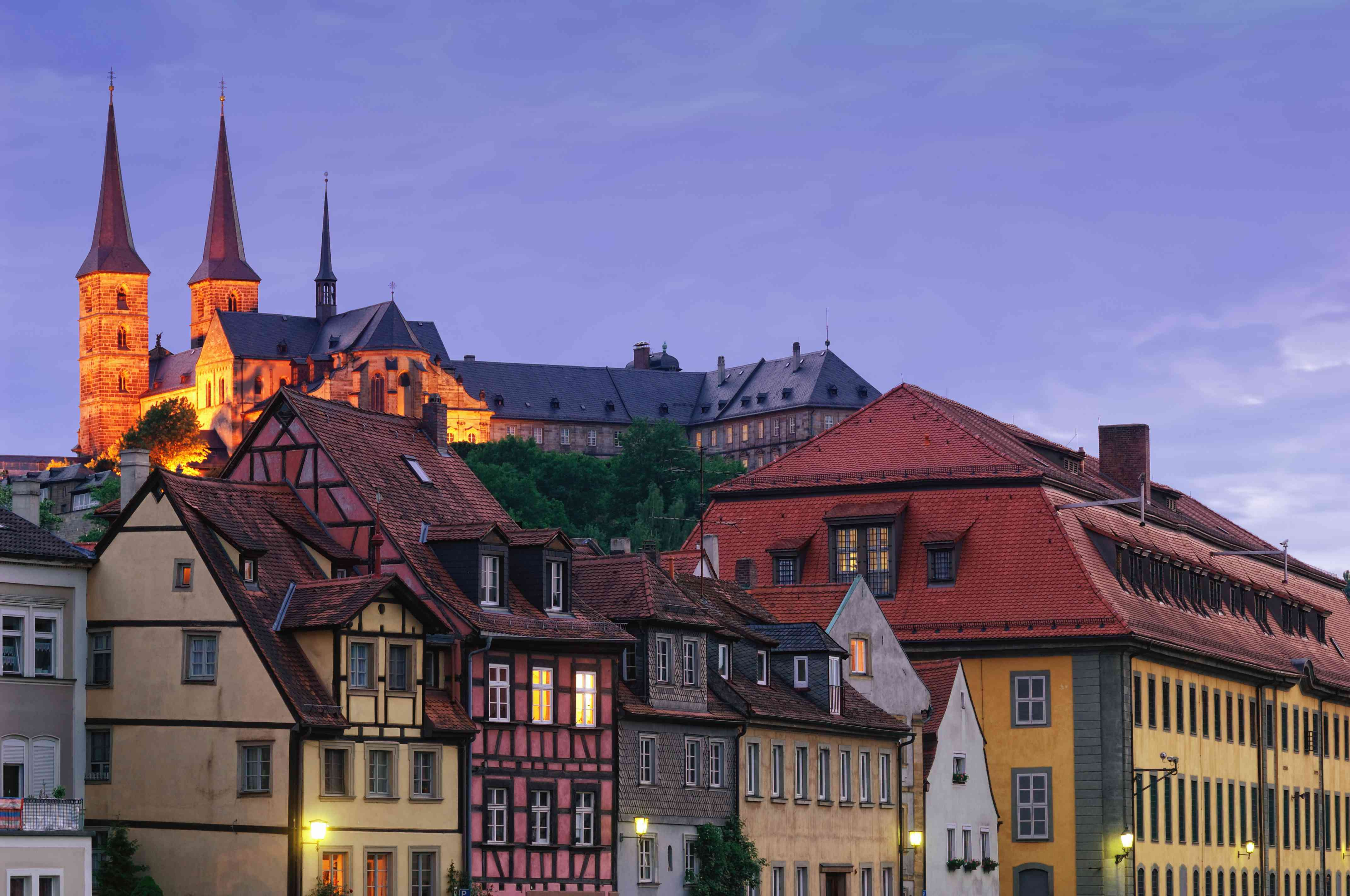 The Michaelsberg Abbey and the historic old town of Bamberg