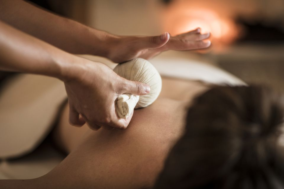 Herbal Massage in a spa