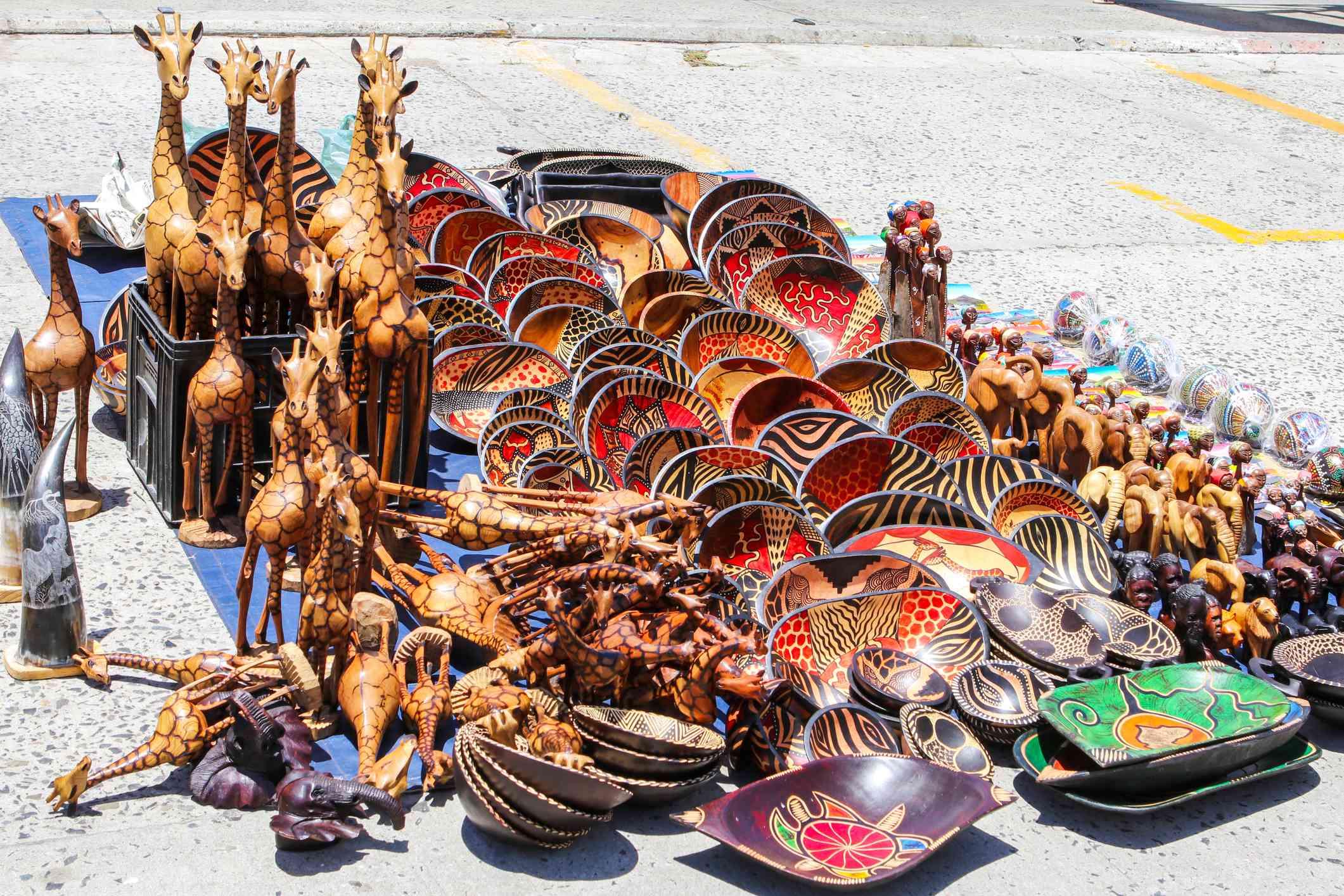 African curios at an open-air market