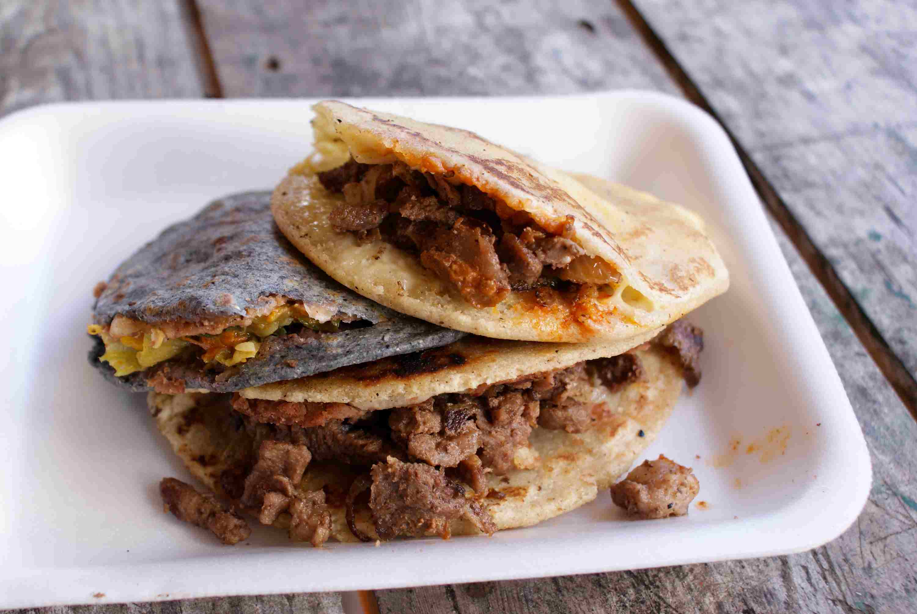 Traditional Mexican Gorditas stuffed with various filling