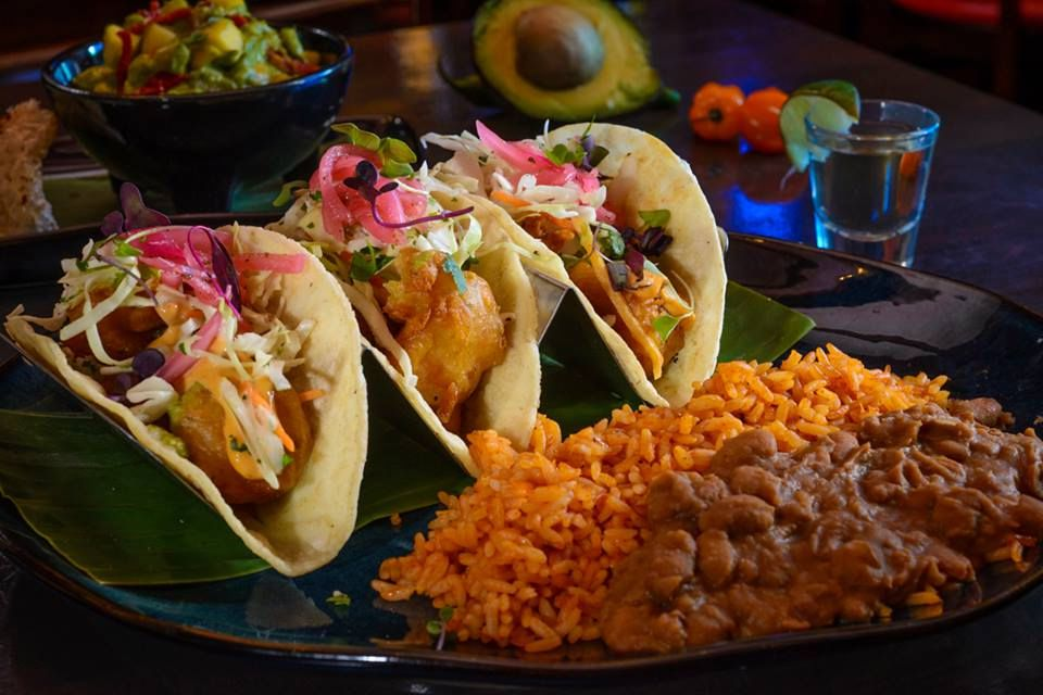 Taco, rice and beans Hussong's Cantina Las Vegas