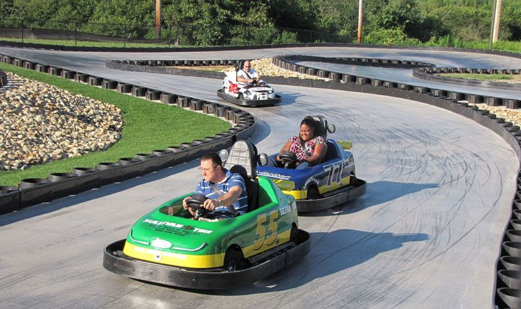 Go-karts at Wonder Mountain Fun Park in Maine.