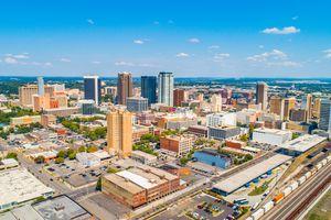 Aerial view of Downtown Birmingham Alabama