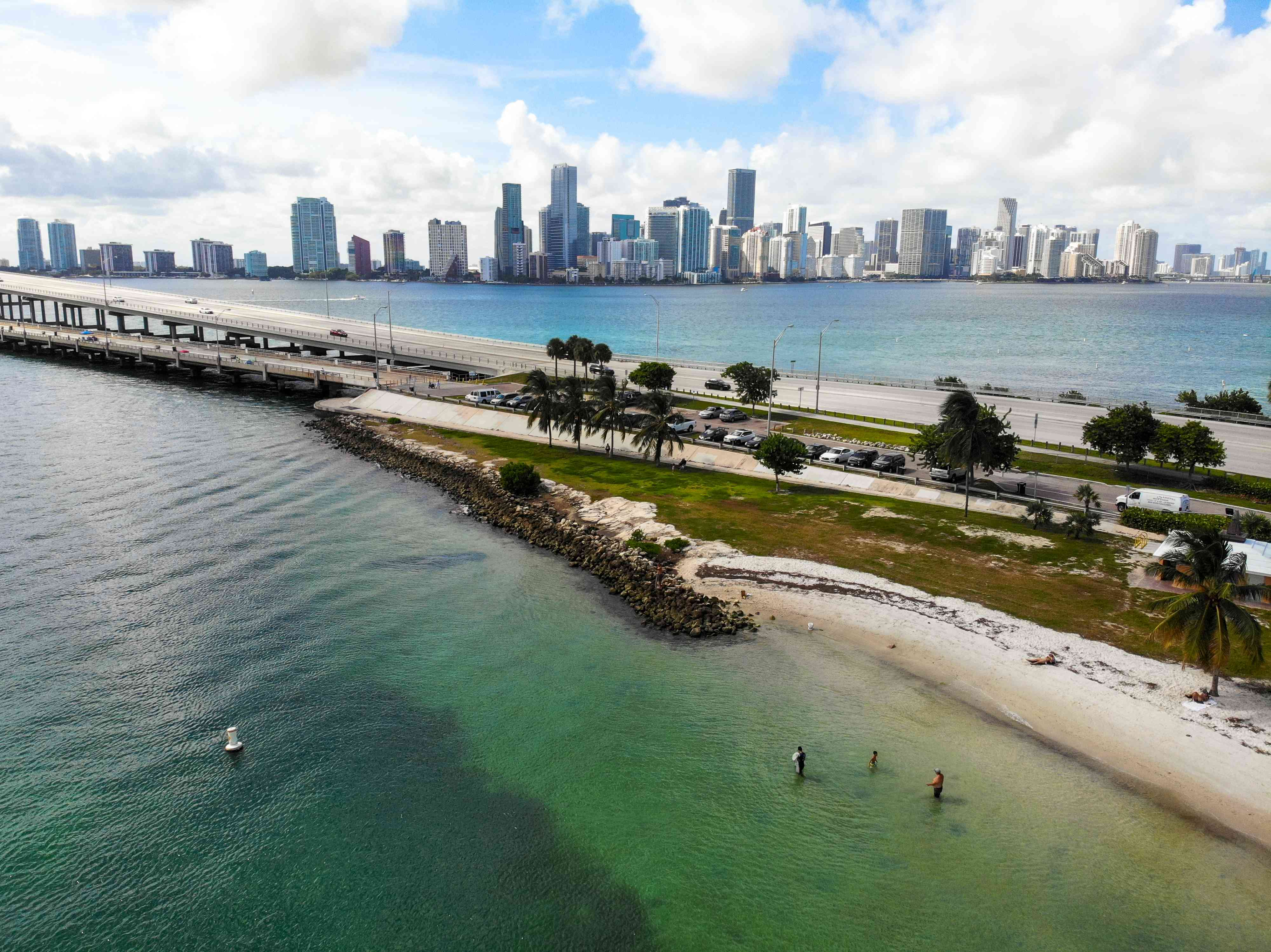 Aerial shot of Hobie beach with miami skyline in the background