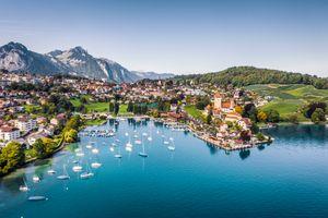 Spiez castle by lake Thun in Canton of Bern, Switzerland