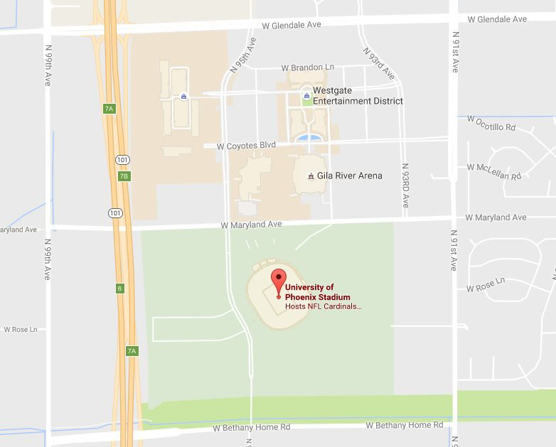Map Of The University Of Arizona.Complete Guide To The University Of Phoenix Stadium In Glendale Az
