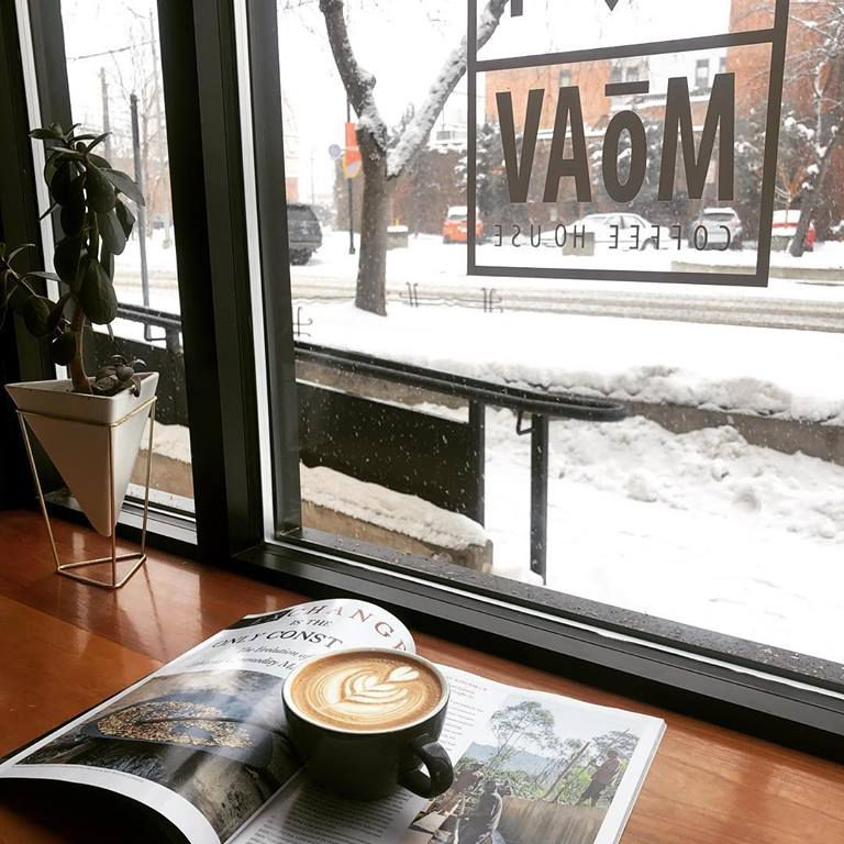 A latte at MoAV Coffee